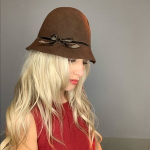 Accessories - Brown Cloche Hat with Velvet Brown Bow